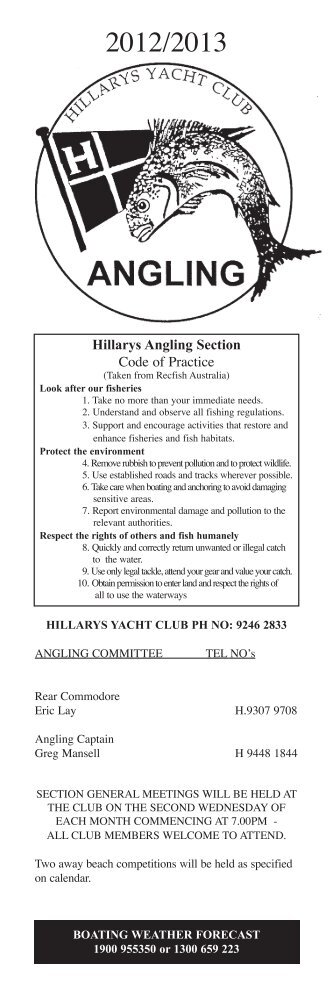 Hillarys Angling Section Code of Practice - Hillarys Yacht Club