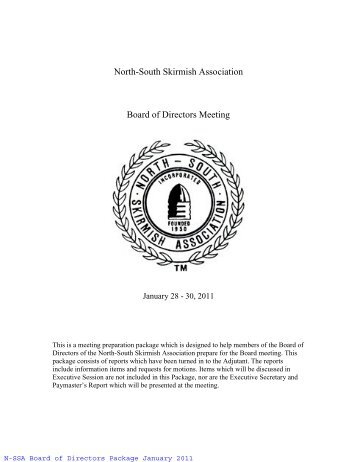 North-South Skirmish Association Board of Directors Meeting