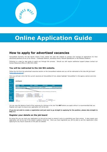 Online Application Guide - VenuesWest