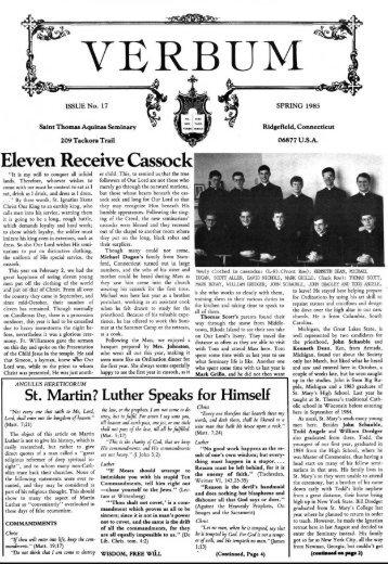 Eleven Receive Cassock - St. Thomas Aquinas Seminary