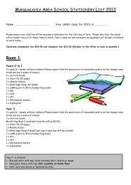 Stationery Lists 2013 - Mangakahia Area School