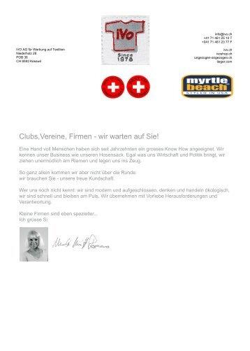 Clubs Vereine, Firmen - wir warten auf Sie! - Ivo AG