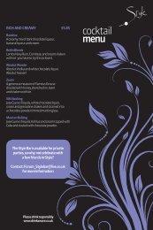 cocktail menu - The Forum Hertfordshire