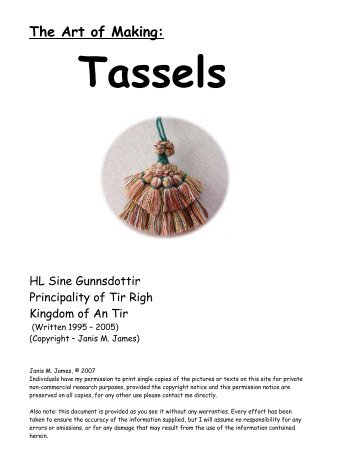The Art Of Making Tassels - Timeless Creations