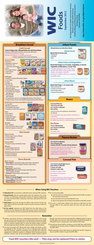 New Hampshire Wic Approved Food List