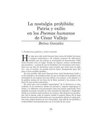 La nostalgia prohibida: Patria y exilio en los Poemas humanos de César Vallejo