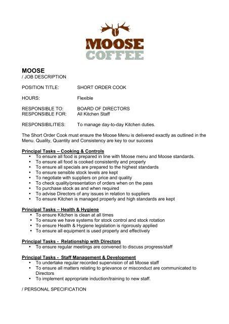 JOB DESCRIPTION POSITION TITLE SHORT ORDER COOK