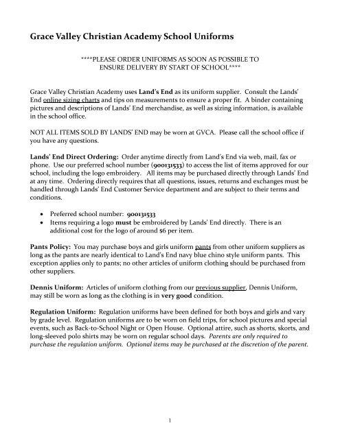 GVCA Uniform Requirements - Grace Valley Christian Center