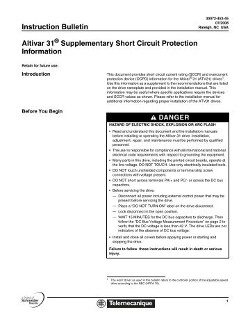 Instruction Bulletin Altivar 31 Supplementary Short Circuit Protection ...