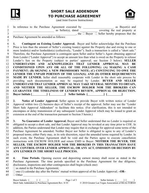 Short Sale Addendum To Purchase Agreement Agent Center