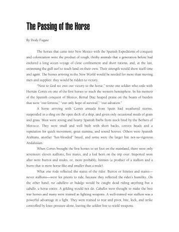 The Passing of the Horse - El Palacio Magazine