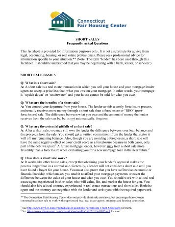 Short Sale Factsheet 8-9-11 - HDF: Housing Development Fund, Inc.