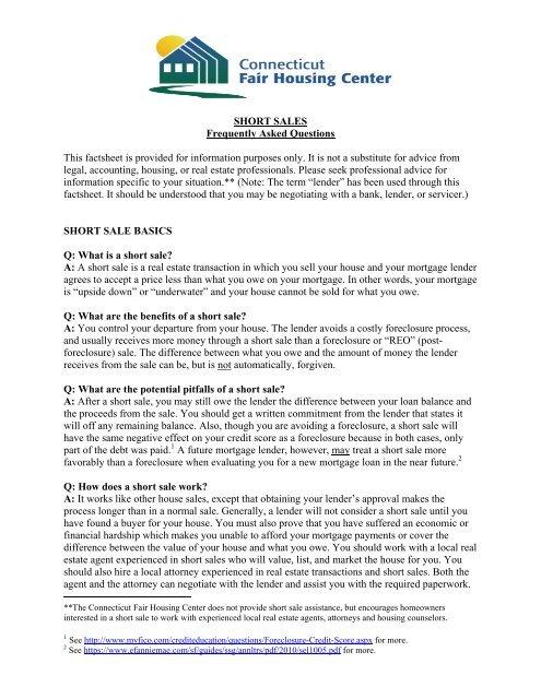 Short Sale Factsheet 8-9-11 - HDF: Housing Development Fund, Inc.