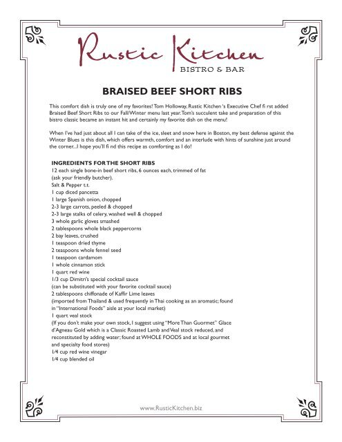 BRAISED BEEF SHORT RIBS - Rustic Kitchen