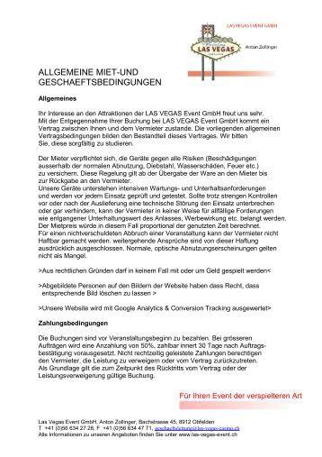 ALLGEMEINE MIET-UND ... - Las Vegas Event GmbH