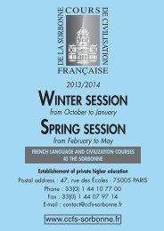 WINTER SESSION SPRING SESSION - Cours de Civilisation ...