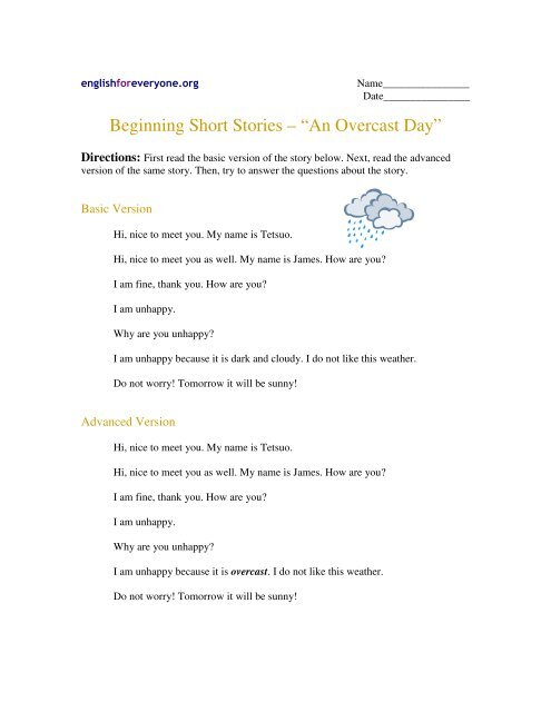 "Beginning Short Stories – ""An Overcast Day"" - English for"