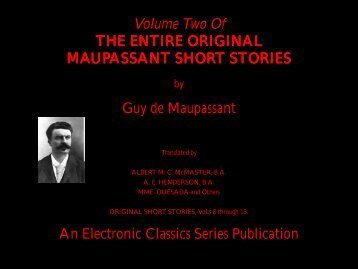 Guy de Maupassant complete short stories volume 2 - Penn State ...