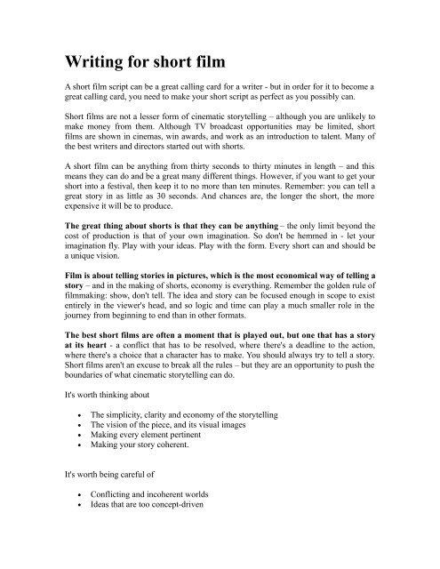 Writing For Short Film' (pdf) - MannIN Shorts