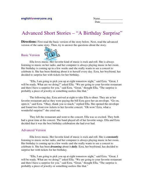 "Advanced Short Stories – ""A Birthday Surprise"" - English for"