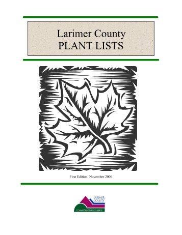 Larimer County PLANT LISTS