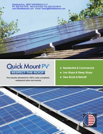 Quick Mount PV, Solar Panel Mounting Systems from Best Materials