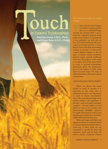 Touch in Pastoral Relationships - HUMAN DEVELOPMENT Magazine