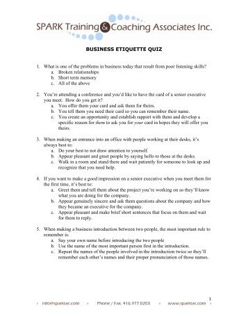 Business etiquette quiz - Spark Training and Coaching Associates
