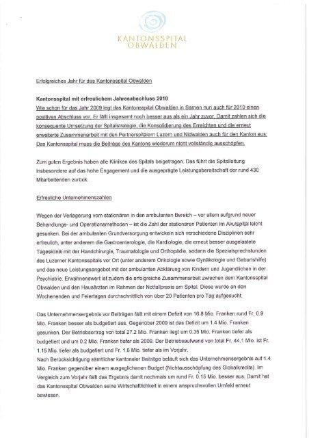 Medienmitteilung - Kantonsspital Obwalden, Sarnen