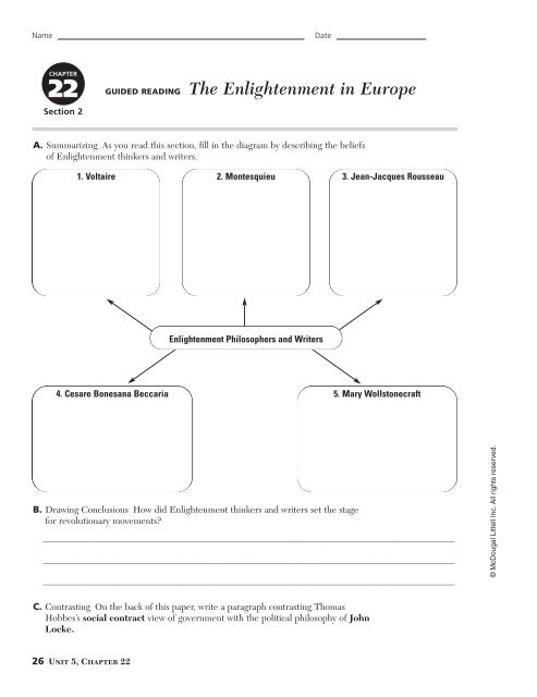 GUIDED READING The Enlightenment In Europe