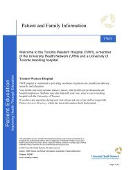 Patient and Family Information - University Health Network