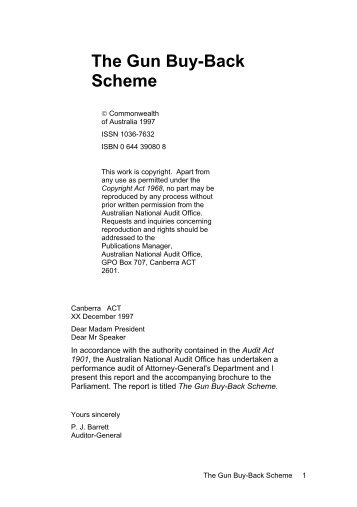 Gun Buy Back Scheme - The Australian National Audit Office