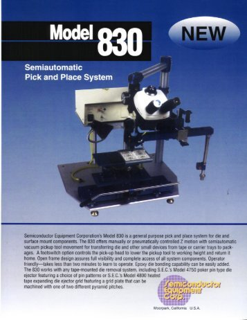 SEC Model 830 Brochure - Semiconductor Equipment Corporation