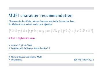 MUFI Character Recommendation V 30 Alphabetical Order