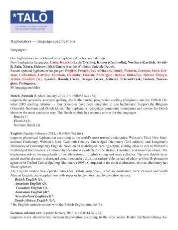 Hyphenators — language specifications - Talo