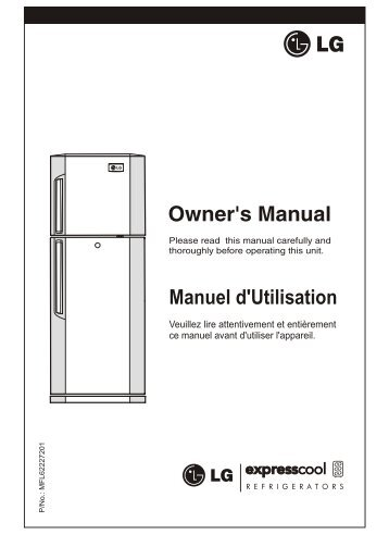 LG GL-B282 VL User Guide Manual PDF - Fridge Freezer Manual