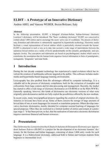 ELDIT – A Prototype of an Innovative Dictionary 1 ... - EURAC