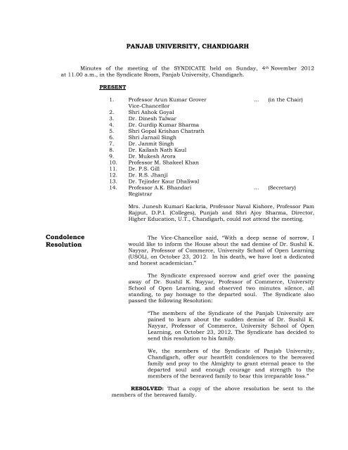 Panjab University Chandigarh Condolence Resolution