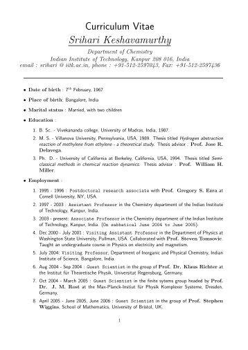 Mdb Vivek Kumar Yadav Curriculum Vitae Iitk Ac In Indian
