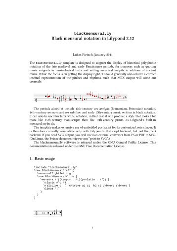 Black mensural notation in Lilypond 2.12 - Dr. Lukas Pietsch