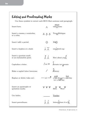 Editing and proofreading marks