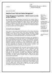 Pressemitteilung Nachruf zum Tod von Heinz Berggruen - Staatliche ...