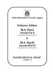 M.A. Music-Tabla - North Maharashtra University