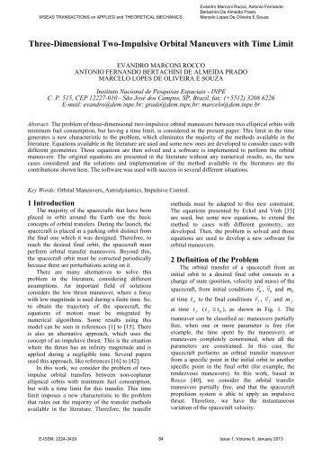 Three-Dimensional Two-Impulsive Orbital Maneuvers with ... - WSEAS