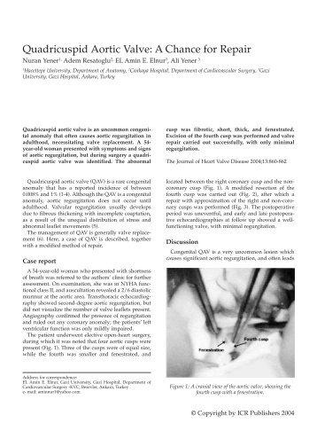 Quadricuspid Aortic Valve: A Chance for Repair - Icr-heart