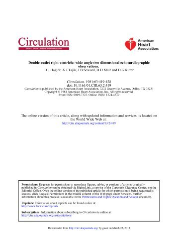 Double-outlet Right Ventricle: Wide-angle Two ... - Circulation