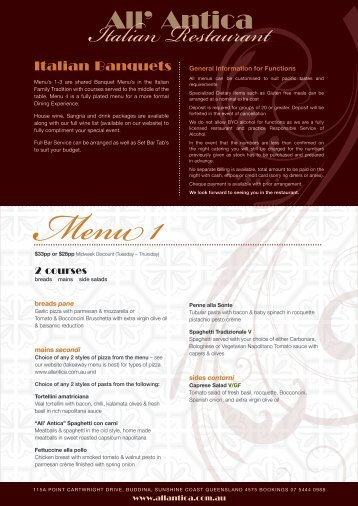 Download our Functions menu (pdf) - All' Antica Italian Restaurant