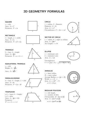 Geometry Mathematical Formulas
