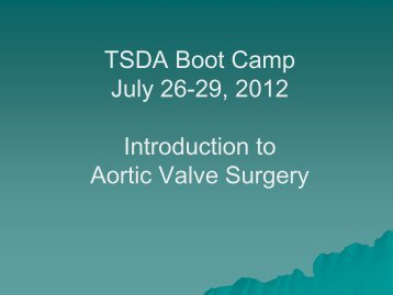 Aortic Valve Pathology and Treatment - TSDA