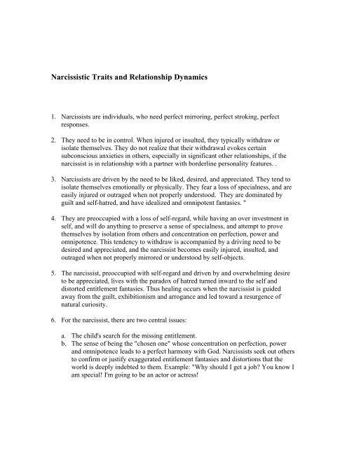 Narcissistic relationship traits